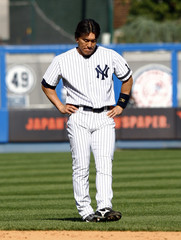 Yankees' Matsui reacts after loss to Blue Jays in New York