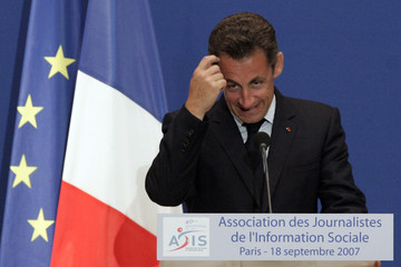 France's President Nicolas Sarkozy unveils his plans to reform social pension privileges given to some workers during a speech in Paris