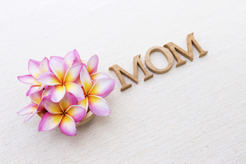 Plumeria flower and mom wooden text on canvas background, mother's day concept