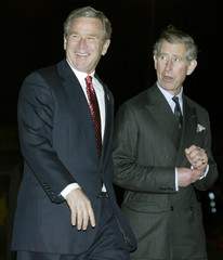 U.S. PRESIDENT BUSH AND BRITAIN'S PRINCE CHARLES STAND TOGETHER ATLONDON'S HEATHROW AIRPORT.