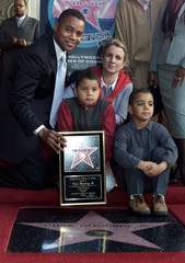 ACTOR CUBA GOODING JR CELEBRATES WALK OF FAME STAR WITH FAMILY.