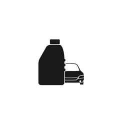 Simple automobile oil icon, a plastic bottle and behind it a car