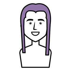 young woman shirtless avatar character vector illustration design