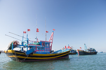 Mui Ne fishing village and traditional Vietnamese fishing boats