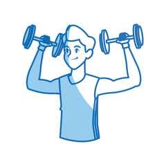 sport man dumbbell fitness gym practice workout vector illustration