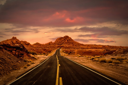 Driving Through the Valley of Fire at Sunset