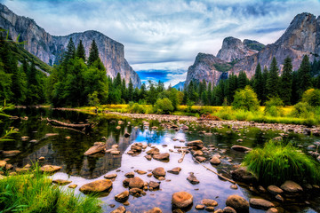 Yosemite Valley View featuring El Capitan, Cathedral Rock and The Merced River Wall mural