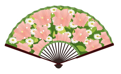 Ancient Traditional Japanese fan with Flower Painting