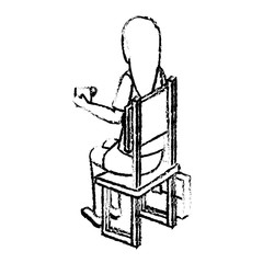businesswoman drinking coffee isometric avatar character sitting vector illustration design