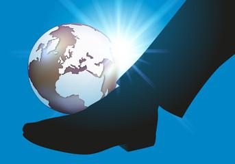 Terre - Coup de pied - globe terrestre - environnement - mondialisation