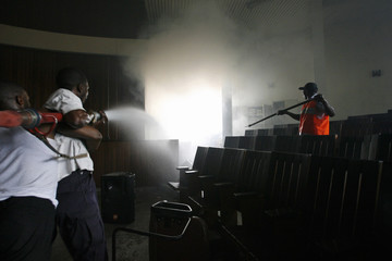 Firemen douse a fire at Congo's Supreme Court in Kinshasa
