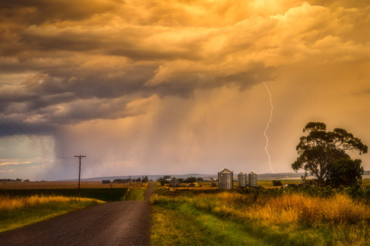 A Sunset Storm and Lightning Strike in Country Queensland