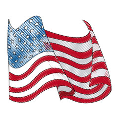 drawing united states of america flag wave vector illustration