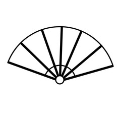 japanese fan folding ornament traditional outline vector illustration