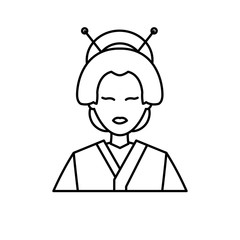 character japanese girl geisha traditional costumen line vector illustration