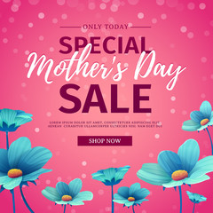 Template design discount banner for happy mother's day. Square poster for special mother's day sale with blue nature, flower decoration.  Square layout on pink background. Vector.