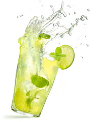 caipirinha cocktail splashing isolated on white background
