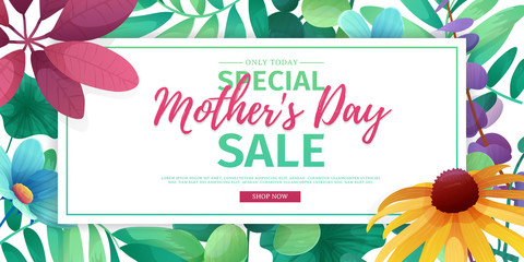 Template design discount banner for happy mother's day. Horizontal poster for special mother's day sale with flower decoration.  Horizontal layout on natural, floral background. Vector.
