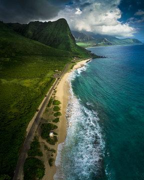 Aerial view of Oahu island