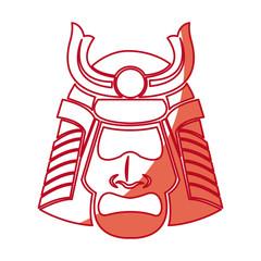 japanese samurai mask warrior face shadow vector illustration