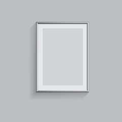 Silver picture or photo frame isolated on grey background. Vector illustration.