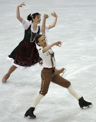 Austria's Silna and Matsjuk perform during the ice dancing original dance programme at the World Figure Skating Championships in Gothenburg