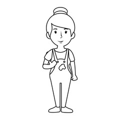 painter woman, cartoon icon over white background. vector illustration
