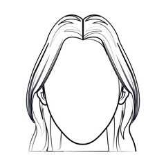 silhouette faceless woman fashion hairstyle line vector illustration