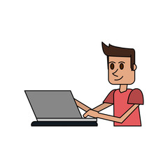 colorful image cartoon side view half body guy with laptop computer vector illustration