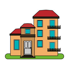 colorful image cartoon facade comfortable lodgings apartments with several floors vector illustration