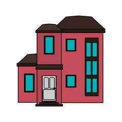 colorful image cartoon facade modern style residential house vector illustration