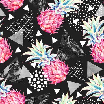 Watercolor pineapple and textured triangles seamless pattern.