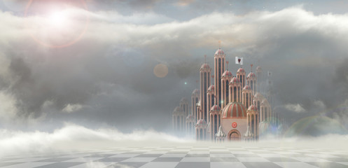 queen of hearts palace in mist Wall mural