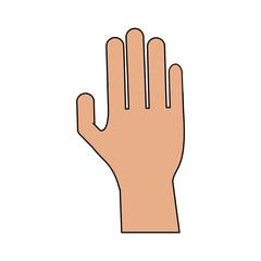 colorful image cartoon hand human palm vector illustration