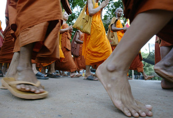 Cambodian Buddhist monks march during annual Vesakha Bochea ceremony in Oudong