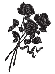 Silhouette of a beautiful bouquet of roses on a white background