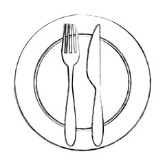 fork and knife with dish cutlery vector illustration design