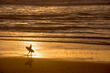Wall Mural - Silhouette of a surfer at sunset on the atlantic ocean, Lacanau France