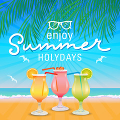Enjoy summer holydays background hand letter. Vector illustration