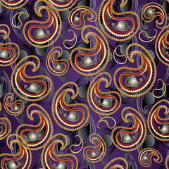 Floral paisley seamless pattern. Flourish vector  violet background with abstract gold 3d  paisley flowers and vintage oriental ornaments. Vector paisley pattern texture for fabric, textile, prints