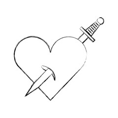 heart love with sword romantic icon vector illustration design