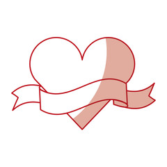 heart love with ribbon romantic icon vector illustration design