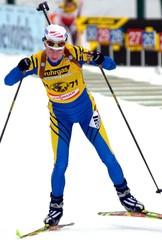 MAGDALENA FORSBERG OF SWEDEN ON 7.5 KM SPRINT BIATHLON WORLD CHAMPIONSHIPS IN POKLJUKA.