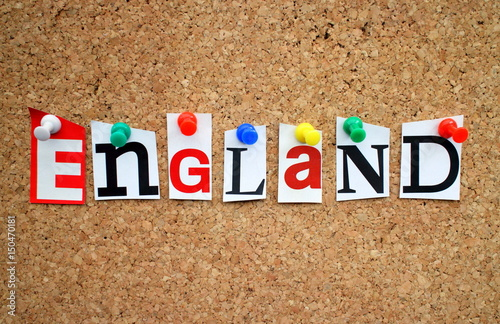 The word england in cut out magazine letters pinned to a cork notice the word england in cut out magazine letters pinned to a cork notice board spiritdancerdesigns Images