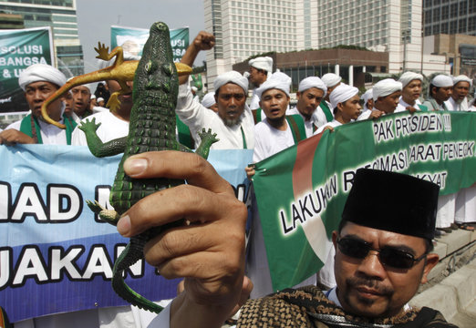 A protester carries a toy crocodile eating a toy lizard during a rally in support of the Corruption Eradication Commission in Jakarta