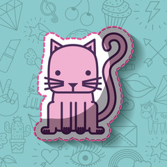 cat or kitty girly icon over background image vector illustration design