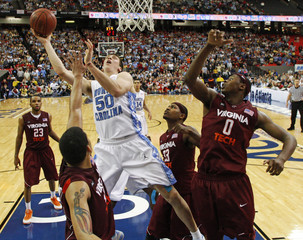 University of North Carolina's Tyler Hansbrough shoots against Virginia Tech during the second round of the ACC college basketball tournament in Atlanta