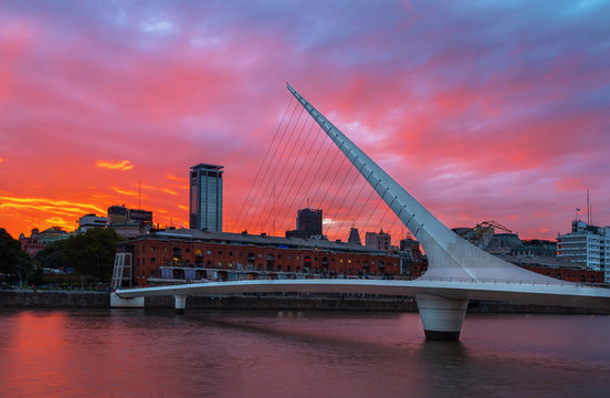 The district of Puerto Madero and theWomen's bridge in the sunset. Buenos Aires, Argentina.