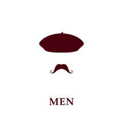 Fashion men beret and mustache icon in flat style.