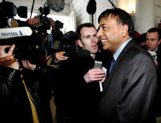 Lakshmi Mittal, head of Mittal Steel, leaves the Belgian PM Verhofstadt's office in Brussels